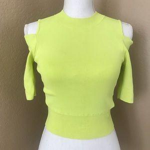 Bebe neon green yellow cutout top